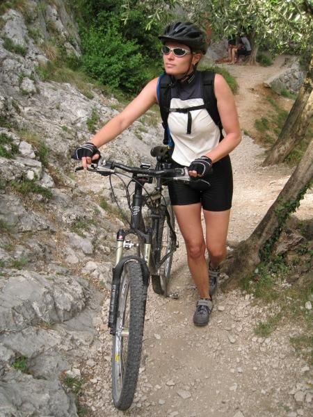 Frauke pushing bike (Lago di Garda)