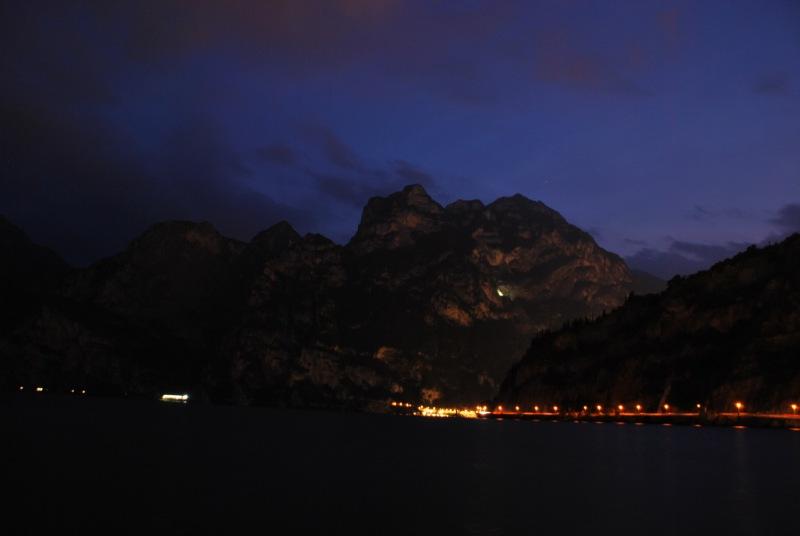 View of lake at night (Lago di Garda)