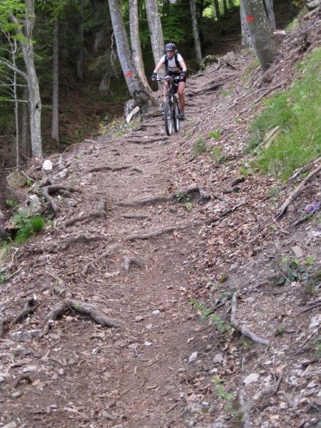 Frauke on single track (Lago di Garda, Italy)