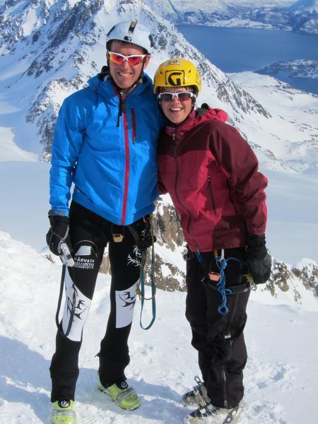 Chris and Em on the summit (Tafeltinden, Norway)