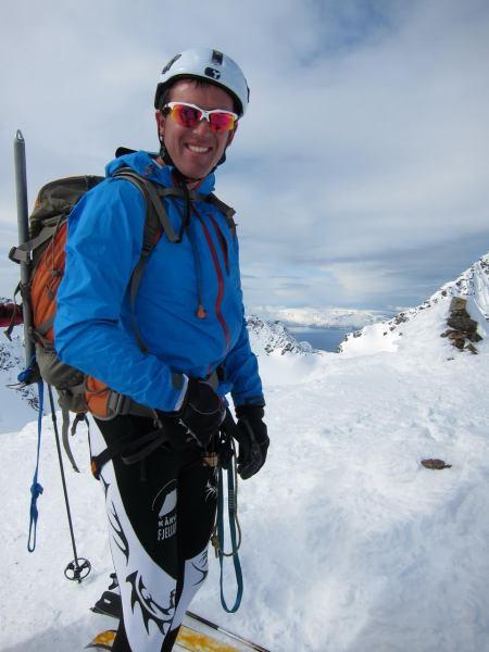 Chris on the summit (Tafeltinden, Norway)
