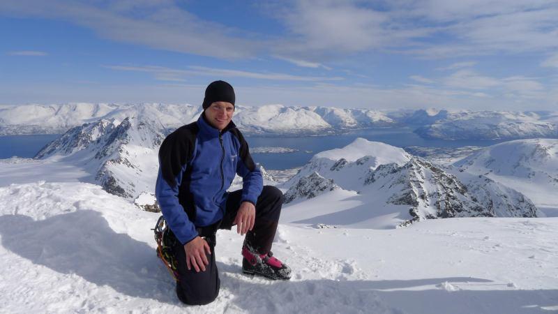 Cris on the summit 3 (Tafeltinden, Norway)