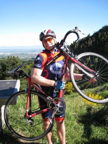 Cris likes his road bike (Port hills, Christchurch)