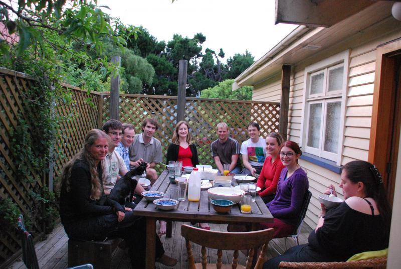Eating dinner with friends (Christchurch, NZ)