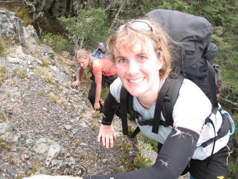 Frauke and Gina climbing (The Pyramid, Arthurs Pass)