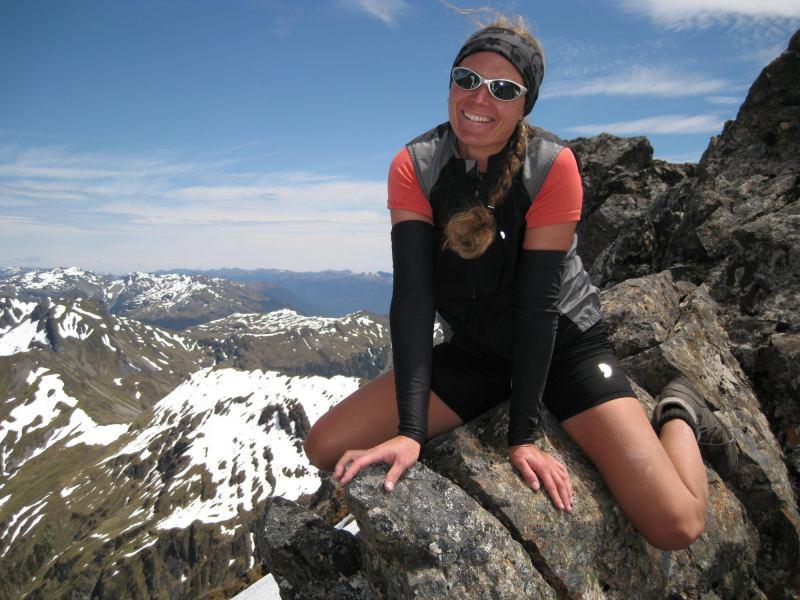 Frauke riding a mountain (Mt Technical, Lewis Pass)