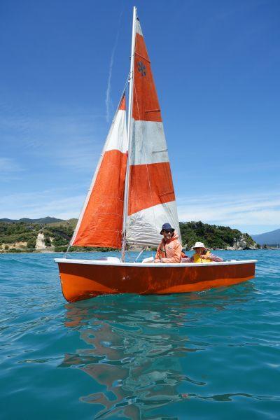 Andy and Dad sailing (Takaka 2013)