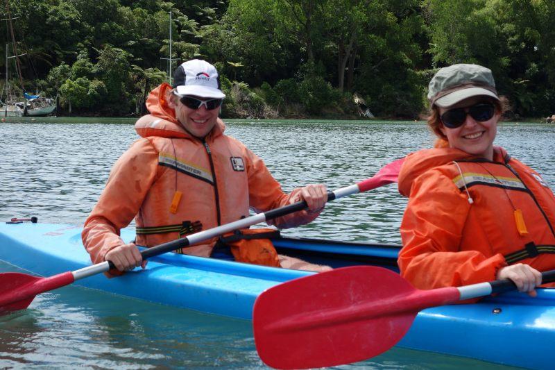 Cris and Katie kayaking (Takaka 2013)