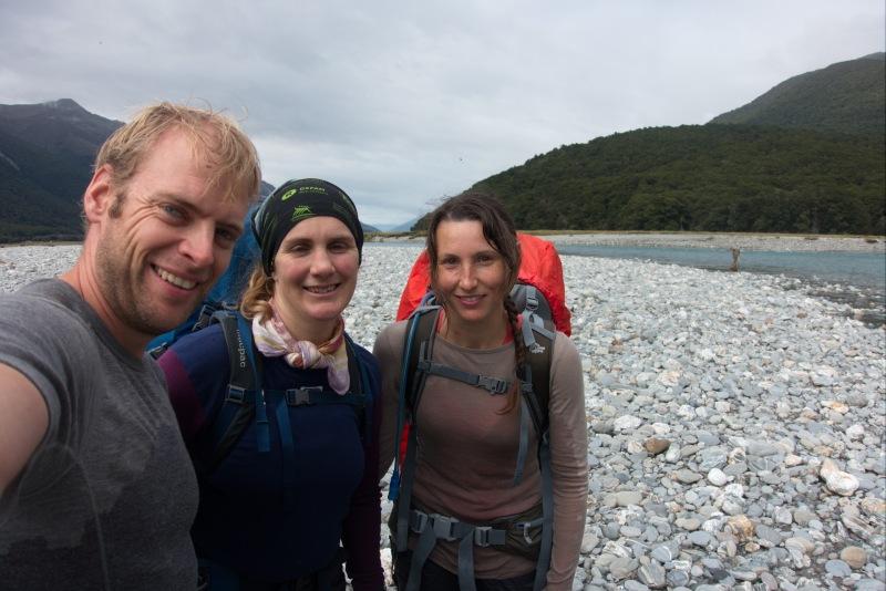 After crossing the Makarora River (Rabbit Pass Tramp Dec 2014)