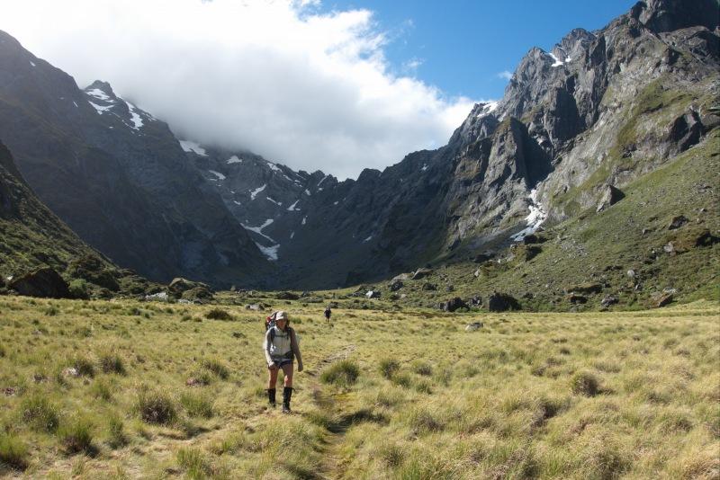 Walking towards Young Hut (Rabbit Pass Tramp Dec 2014)