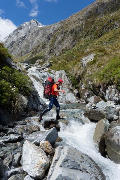 Chris crossing a stream (Hopkins Valley Tramp Jan 2015)