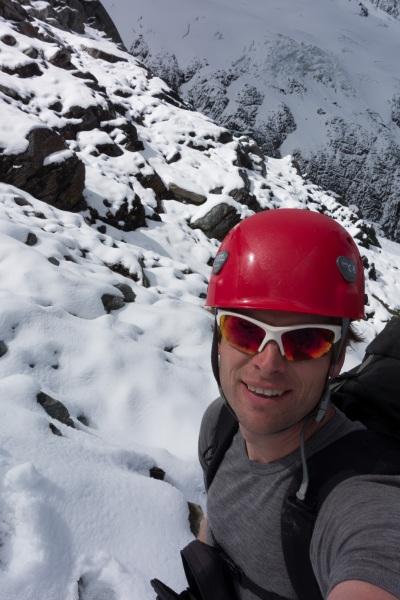 Cris amongst snow and rock (Hopkins Valley Tramp Jan 2015)