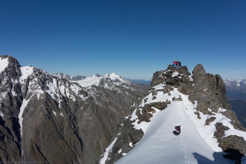 Em, Clare, and Cris on Mt Mackenzie summit (Hopkins Valley Tramp Jan 2015)