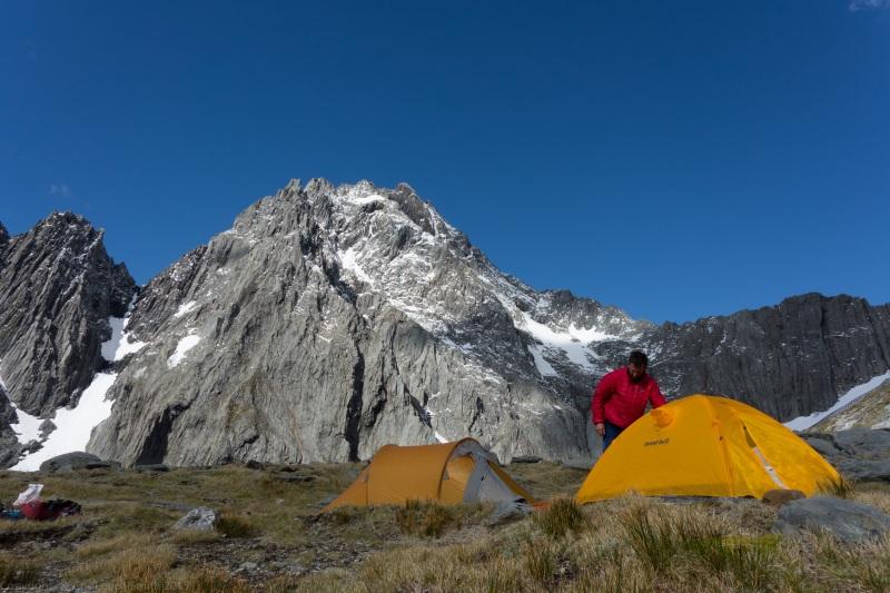 Tents infront of Mt Trent 3 (Hopkins Valley Tramp Jan 2015)