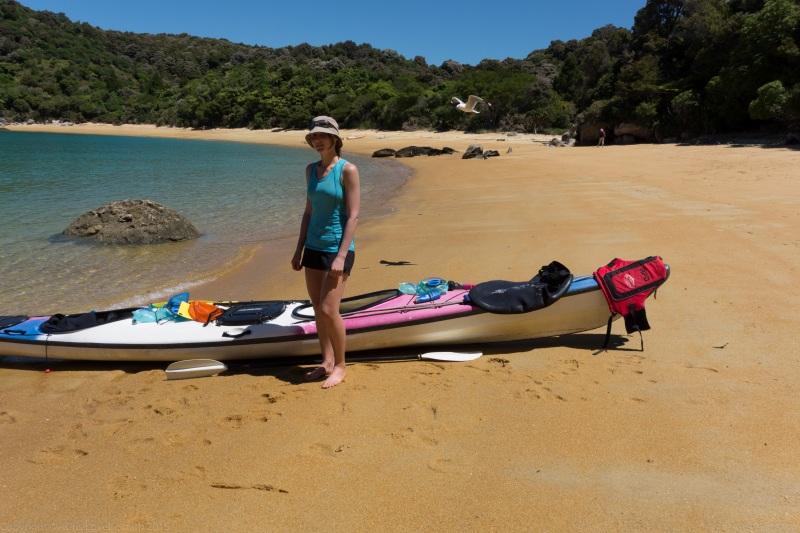 Leonie and kayak (Seakayaking Abel Tasman Dec 2014)