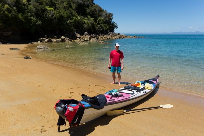 Cris and kayak (Seakayaking Abel Tasman Dec 2014)