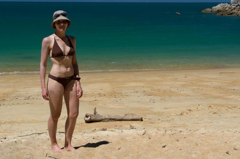 Leonie in bikini (Seakayaking Abel Tasman Dec 2014)