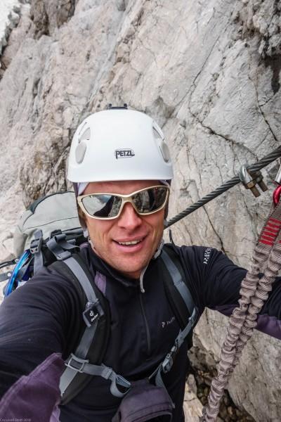 Cris on the second klettersteig (Zugspitze July 2018)