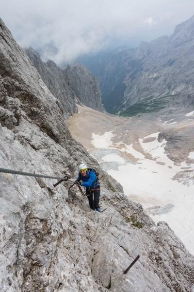 Johannes climbing up (Zugspitze July 2018)