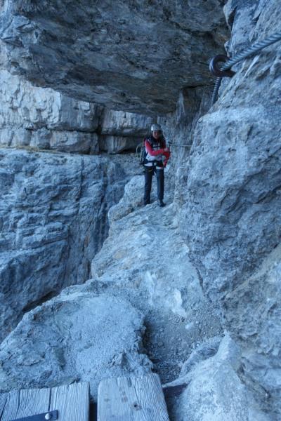 Leonie on the via ferrata (Brenta Dolomites)
