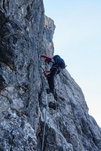 Leonie on a ladder (Brenta Dolomites 2016)