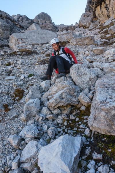 Leonie descending on her bum (Brenta Dolomites 2016)