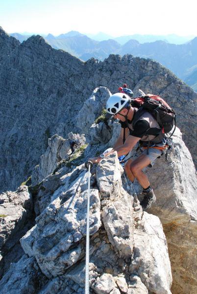 Peter climbing (Nebelhorn Klettersteig, Germany)