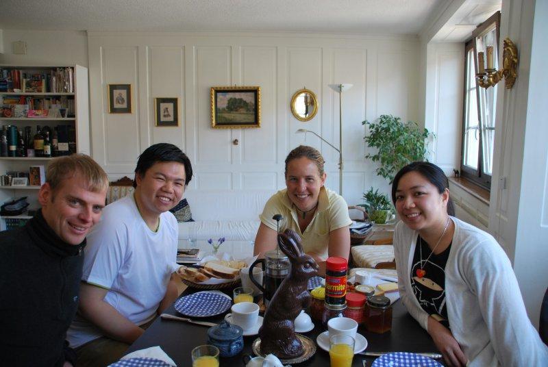 Cris, Daniel, Jane, and Bel having brunch (Zuerich, Switzerland)