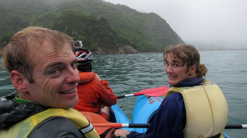 Cris, Holly, and Gina in kayaks (Golden Bay)