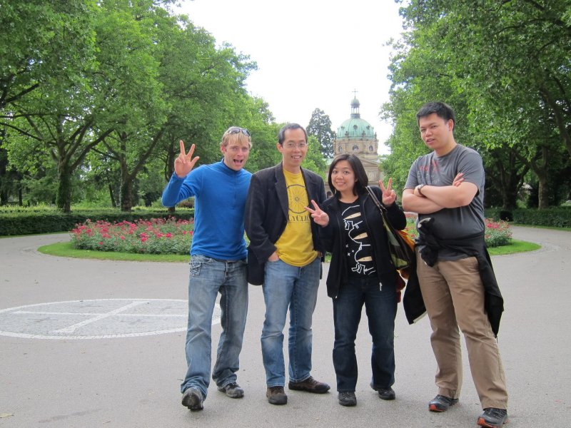 Cris, Kuan, Bell, and Dan being silly (Freiburg, Germany)
