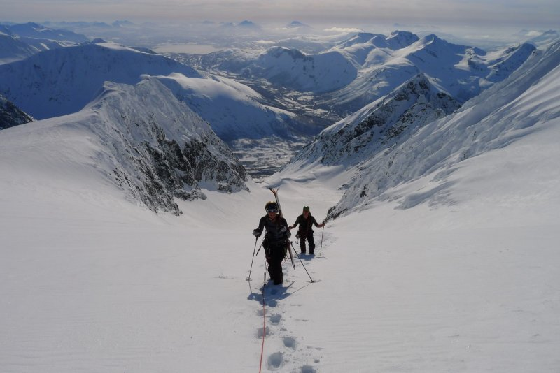 Em and Cris nearing the top (Langdalstindane, Norway)