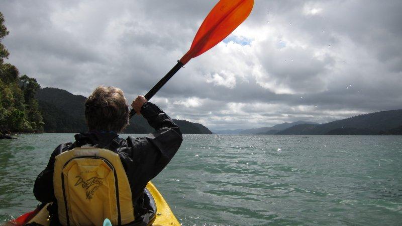 Mum kayaking (Kayaking Queen Charlotte Sound)