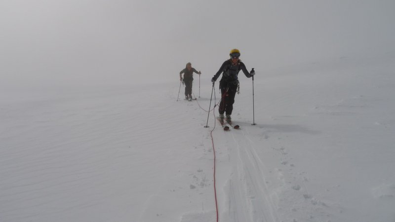 Walking up the glacier in white-out (Langdalstindane, Norway)