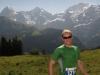 Cris with Eiger, Jungfrau behind (Inferno Half marathon, Switzerland)