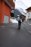 Leonie sets off (Ski touring Jamtalhuette)
