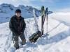 Leonie and skis (Ski touring Jamtalhuette)