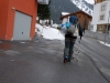 Leonie sets off (Ski touring Jamtalhuette)