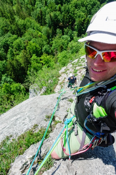 Cris and Johannes climbing at Plombergstein (Climbing Holiday June 2019)
