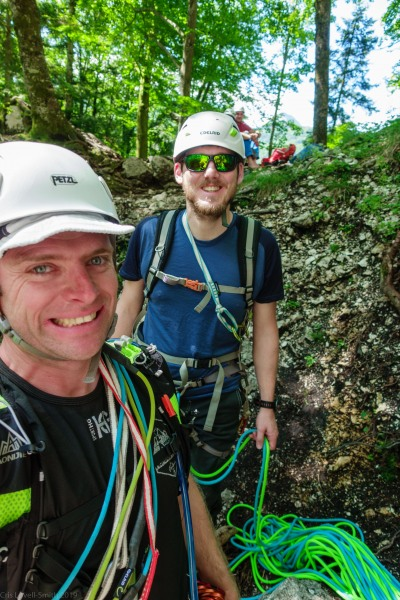 Cris and Johannes getting ready to climb (Climbing Holiday June 2019)