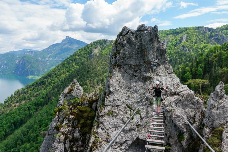 Cris on the swing bridge (Climbing Holiday June 2019)