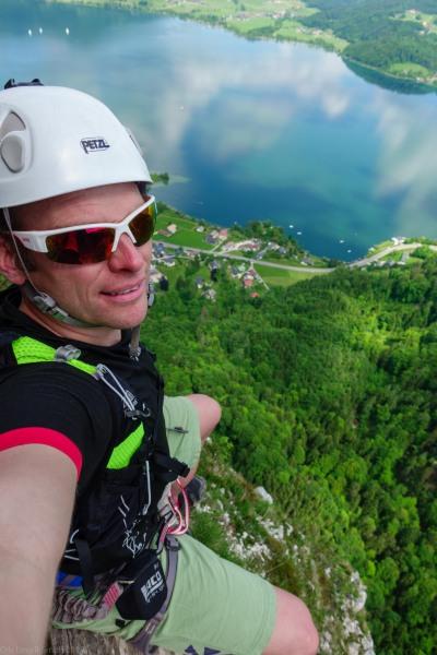 Cris sits above thin air (Climbing Holiday June 2019)