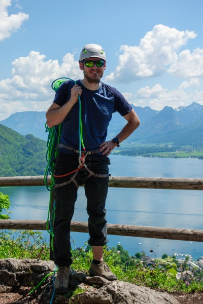 Johannes at the top of the climb (Climbing Holiday June 2019)