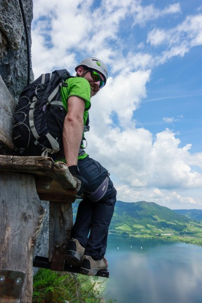 Johannes perching on the seat (Climbing Holiday June 2019)