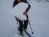 Frauke about to throw a snowball 2 (Ski Touring, Tannheimer Tal, Austria)