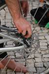 Chris fixing disc brakes (Portugal ARWC 2009)