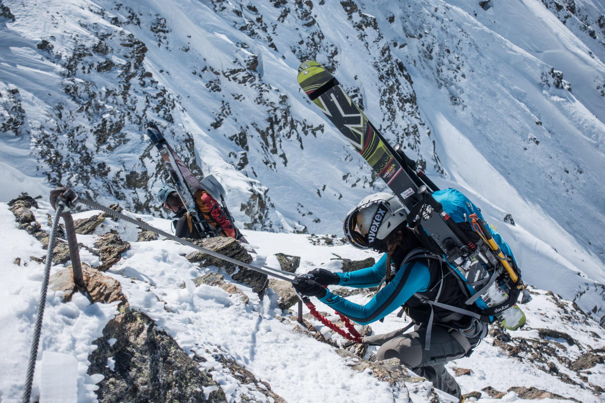 Climbing down (Arlberger Winterklettersteig March 2017)