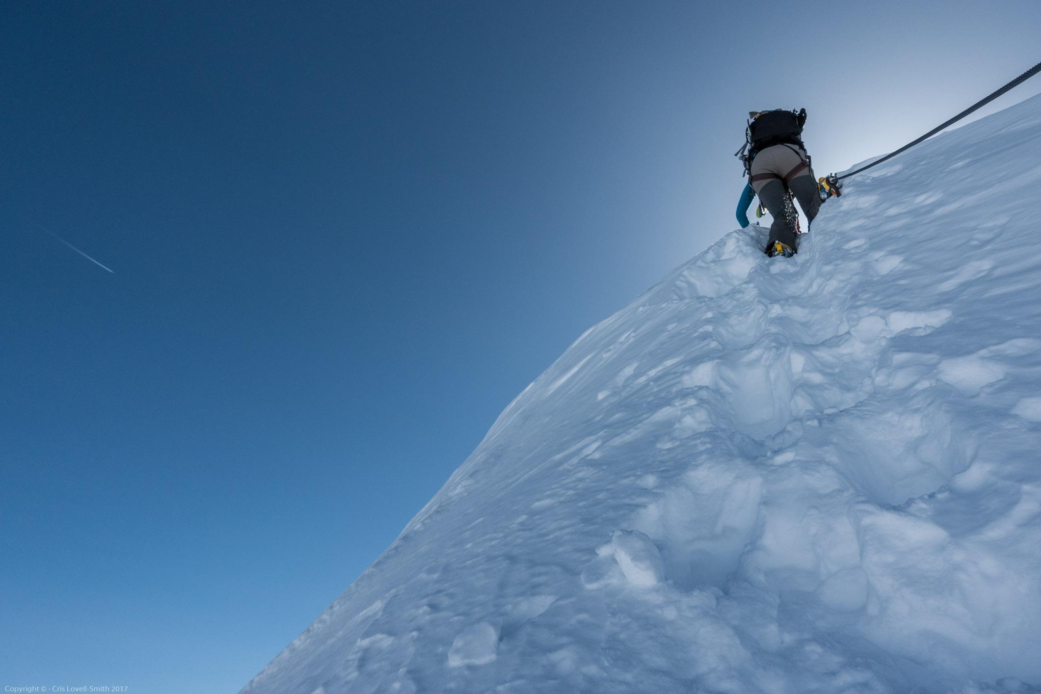 Climbing into the blue (Arlberger Winterklettersteig March 2017)