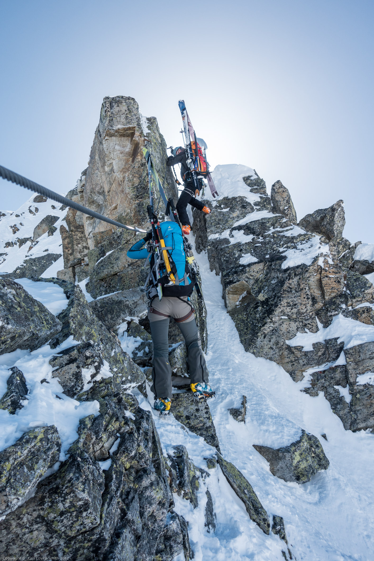 Coming up to a tricky bit (Arlberger Winterklettersteig March 2017)
