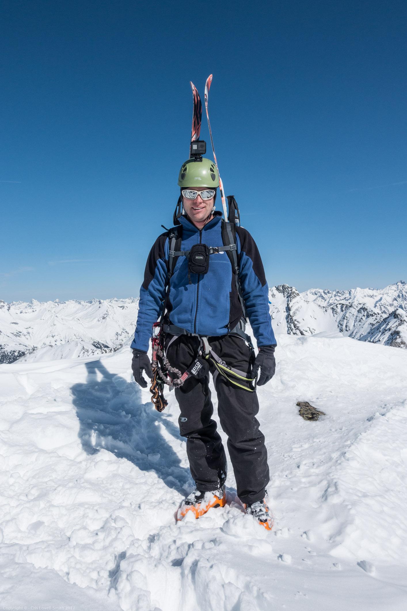 Cris posing (Arlberger Winterklettersteig March 2017)