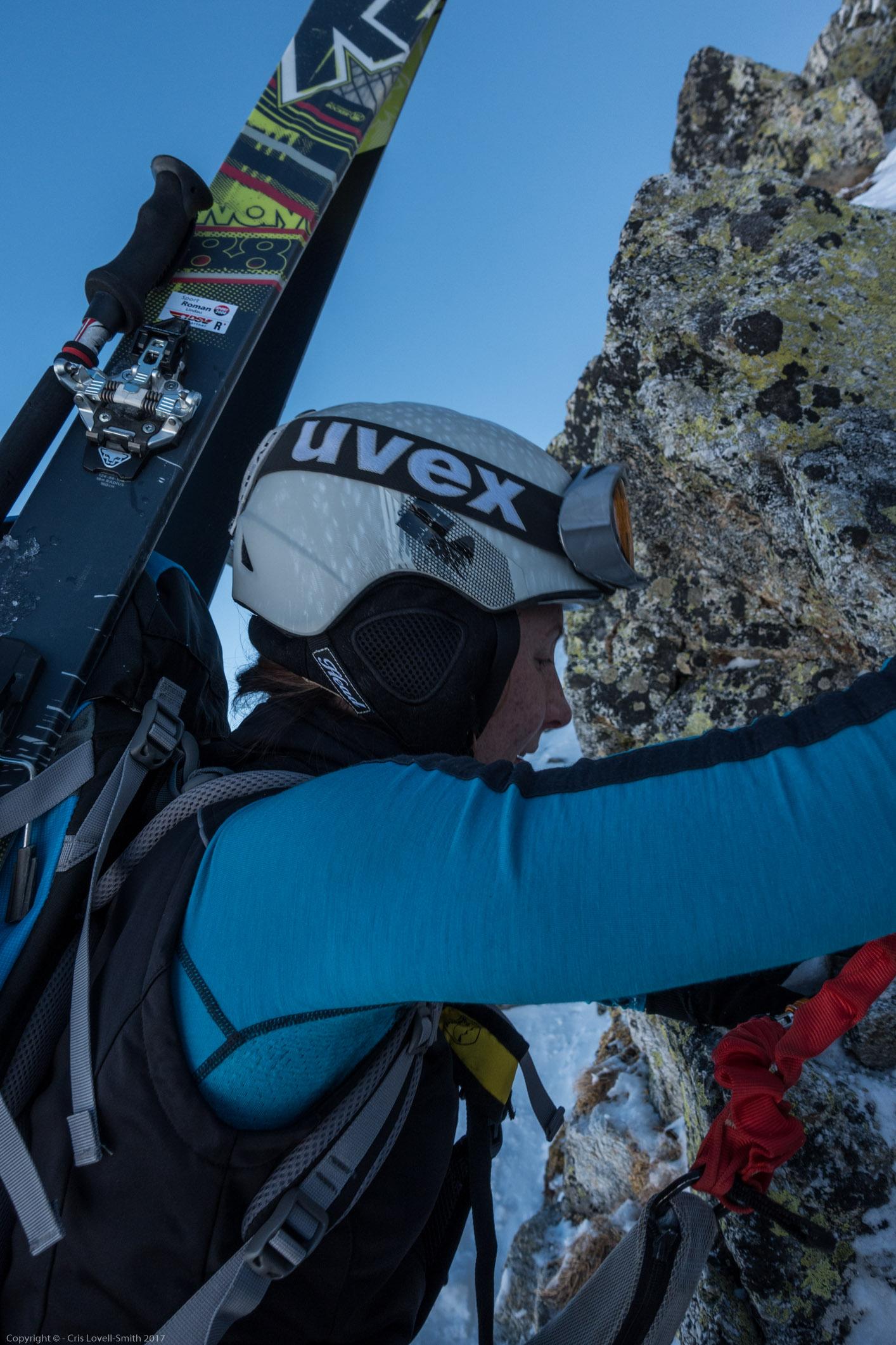 Leonie and skis (Arlberger Winterklettersteig March 2017)